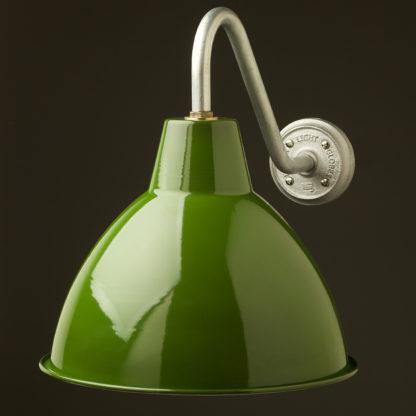 Short Goose-neck Barn light with enamel green factory shade galvanised