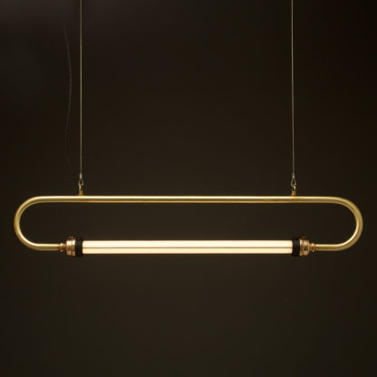 940 mm half inch solid brass pipe loop LED tube light no shade