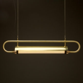 940 mm half inch solid brass pipe loop LED tube light with shade