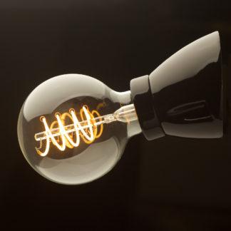 Black Porcelain Angled Batten Holder Edison E27 Fitting